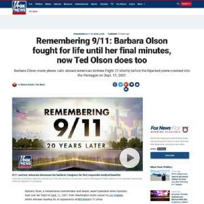 Remembering 9/11: Barbara Olson fought for life until her final minutes, now Ted Olson does too