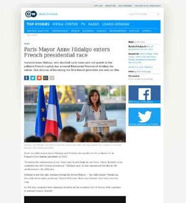 Paris Mayor Anne Hidalgo enters French presidential race