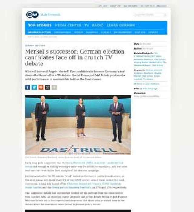 Merkel's Successor: German election candidates face off in crunch TV debate