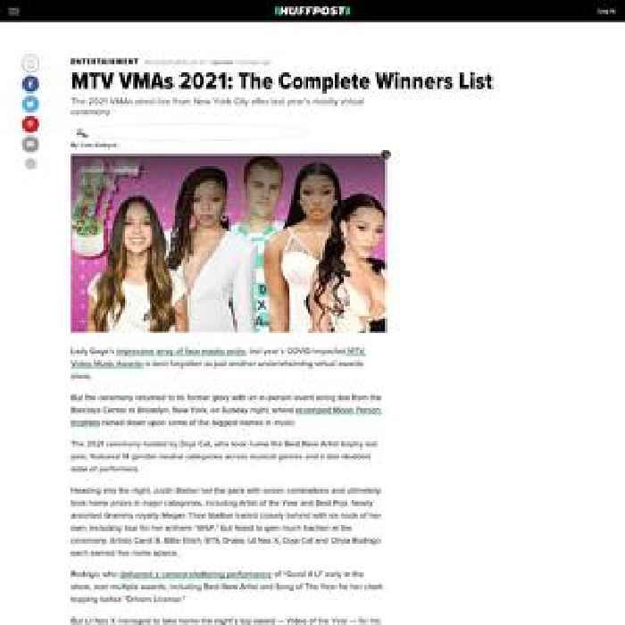 MTV VMAs 2021: The Complete Winners List