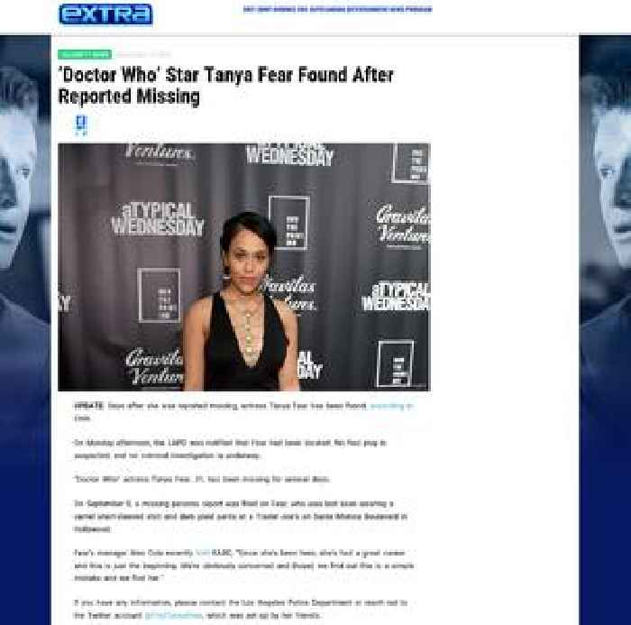 'Doctor Who' Star Tanya Fear Reported Missing