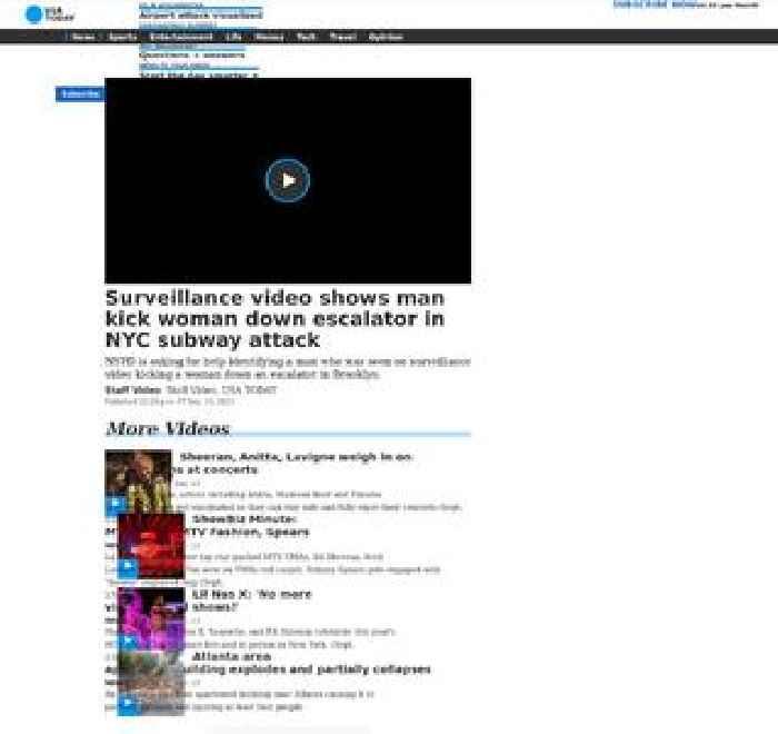 Surveillance video shows man kick woman down escalator in NYC subway attack