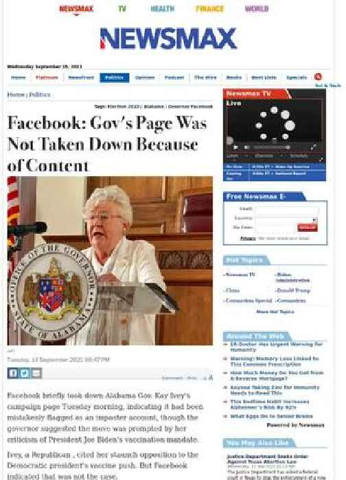 Facebook: Gov's Page Was Not Taken Down Because of Content