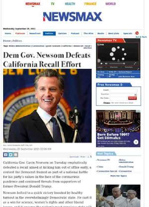 Dem Gov. Newsom Defeats California Recall Effort