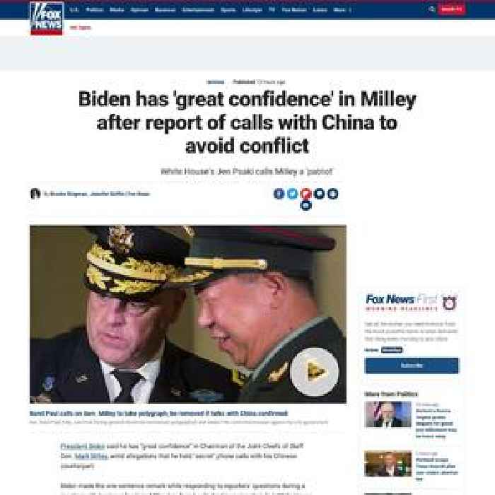 Biden has 'great confidence' in Milley after report of calls with China to avoid conflict