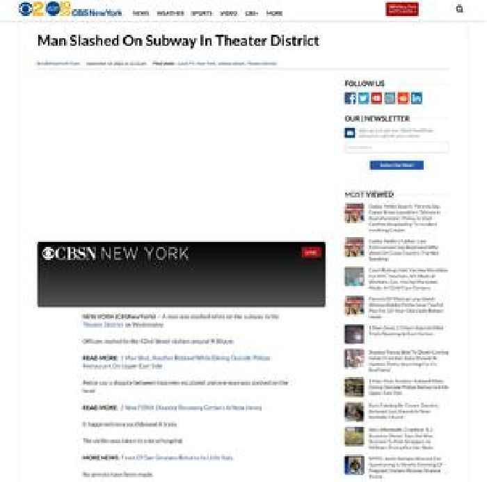 Man Slashed On Subway In Theater District