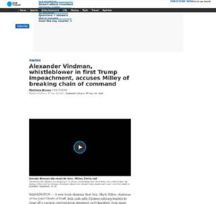 Alexander Vindman, whistleblower in first Trump impeachment, accuses Milley of breaking chain of command