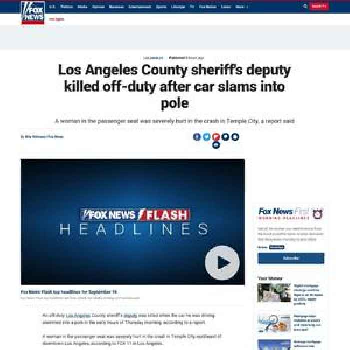 Los Angeles County sheriff's deputy killed off-duty after car slams into pole