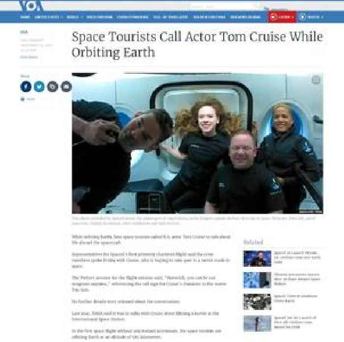 Space Tourists Call Actor Tom Cruise While Orbiting Earth