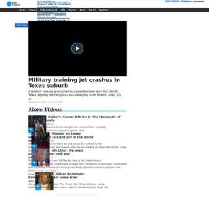 Military training jet crashes in Texas suburb