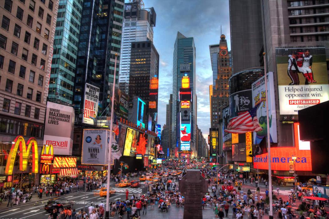 Chinese state-owned media use Times Square video screen for ads on coronavirus response