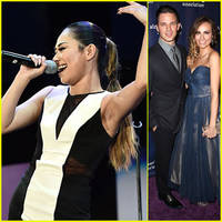 jessica sanchez & matt lanter take selfies for a night at sardi's