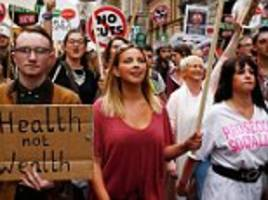 russell brand and charlotte church join thousands on anti-austerity march