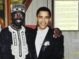 'i'm running for senate to deal with serious issues blacks face here': obama's half-brother sells revealing handwritten letter from 1995 in which president-to-be reveals true political ambitions