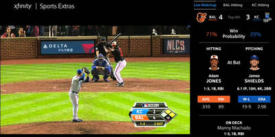 Comcast's TV sports app delivers baseball stats when they matter