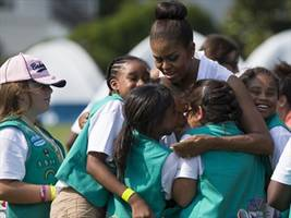Girl Scouts camp at White House