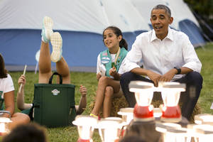 Girl Scouts spend night on White House lawn with the Obamas