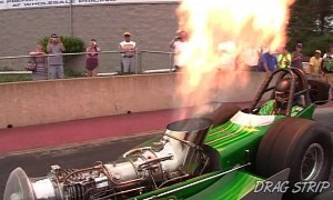 Turbine-Powered Green Monster Shoots Flames at the Driver, Hits 200 MPH - Video