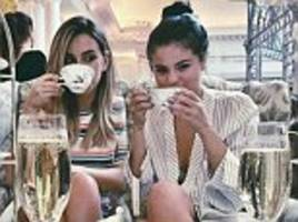 Selena Gomez toasts the good life with champagne during high tea