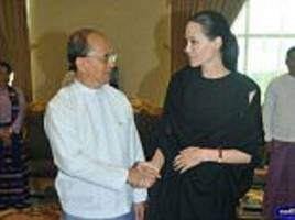 Angelina Jolie takes her human rights crusade to Burma: Hollywood star and UN special envoy shakes hands with the president before meeting refugees and political prisoners on south east Asia tour
