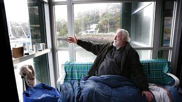 Homeless man picks million-dollar view over a bed