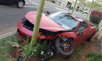Ferrari 458 Spider Crashes into a House then a Tree in a South African Residential Complex