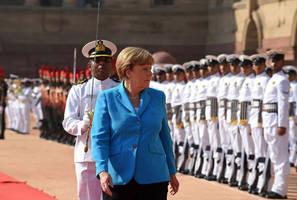 German Chancellor Angela Merkel given ceremonial welcome in India