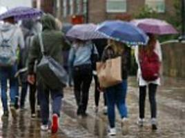 UK weather sees torrential rain brings flash floods, train delays, and inch of rain