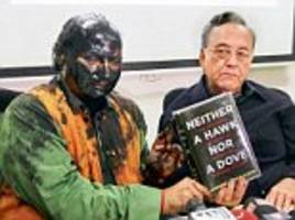 Outrage as Shiv Sena activists smear Sudheendra Kulkarni with paint during book launch for former Pakistan foreign minister