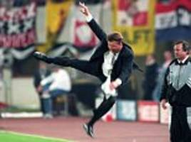 louis van gaal suggests 1995 champions league final karate kick is behind subdued touchline behaviour at manchester united