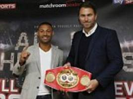 eddie hearn confident amir khan will agree deal to face kell brook at wembley in june