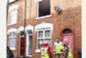 highfields fire: woman and child rescued from upstairs window of...