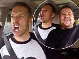 chris martin has james corden in hysterics as he shows off mick jagger impression