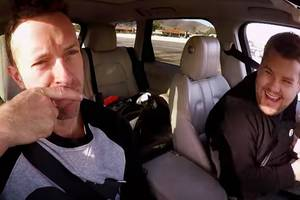 chris martin cuddles with james corden for carpool karaoke (video)