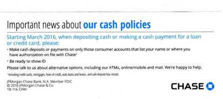 and now some important news about jpmorgan's new cash policies
