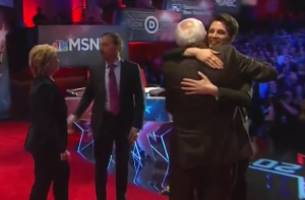 MSNBC Moderator Rachel Maddow Hugs Democratic Candidates After Debate