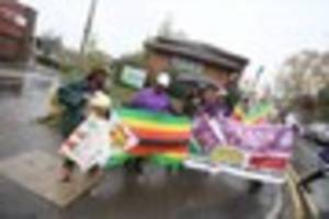 protesters gather outside surgery of nottingham gp sylvester...