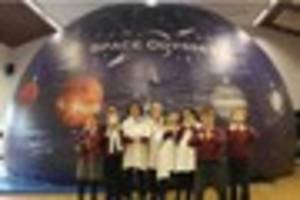 pupils at redstart primary school in chard treated to planetarium...