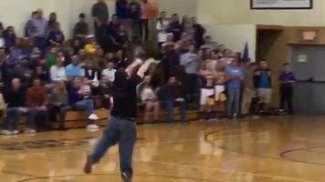 Vincennes team manager makes half-court shot and his celebration is just the best