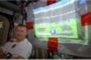 tim peake watches england play in the six nations rugby...