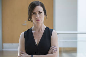 'billions' star maggie siff on wendy rhoades: 'she loves swimming with the sharks'