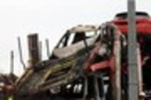 pictures: car transporter bursts into flames on m25