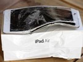 Couple who tried to sell their iPad online to raise cash for their wedding day were left empty handed after the new owners claimed it arrived 'bent and smashed'