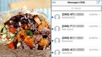 Man accidentally gets 350+ texts about burritos during Chipotle giveaway