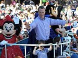 Peyton Manning celebrates Denver Broncos' Super Bowl 50 victory against Carolina Panthers with parade in Disneyland