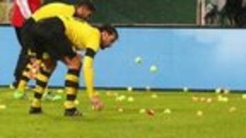 Dortmund fans in tennis ball protest