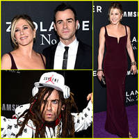 justin theroux goes in costume to 'zoolander 2' premiere, brings wife jennifer aniston!