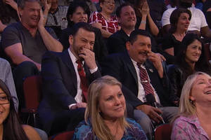 watch jimmy kimmel's audience react to a sacha baron cohen movie clip too disgusting for tv (video)