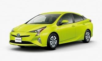 this toyota prius is colored like a running shoe for a purpose