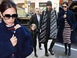 victoria beckham changes into stripe midi-dress after new york fashion week show